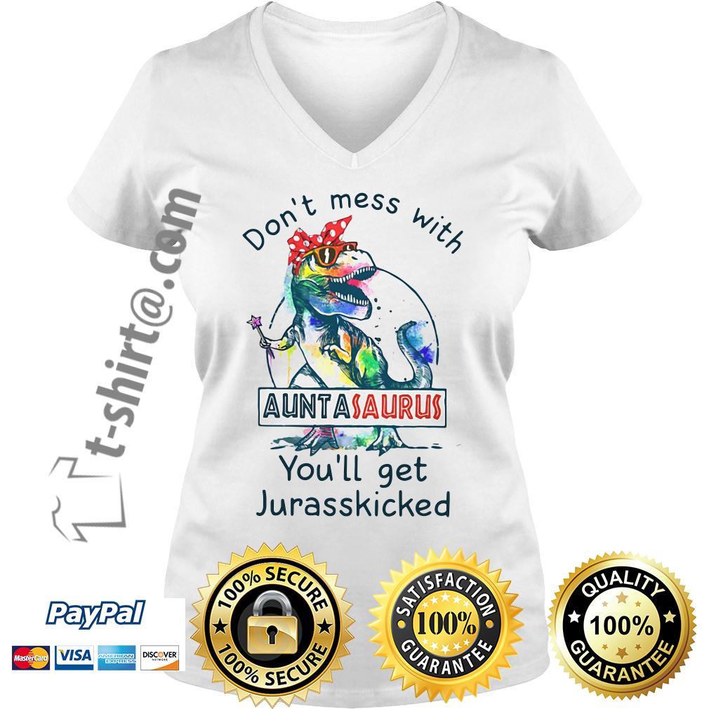 Jurasskicked bow head scarf don't mess with auntasaurus you'll get V-neck T-shirt