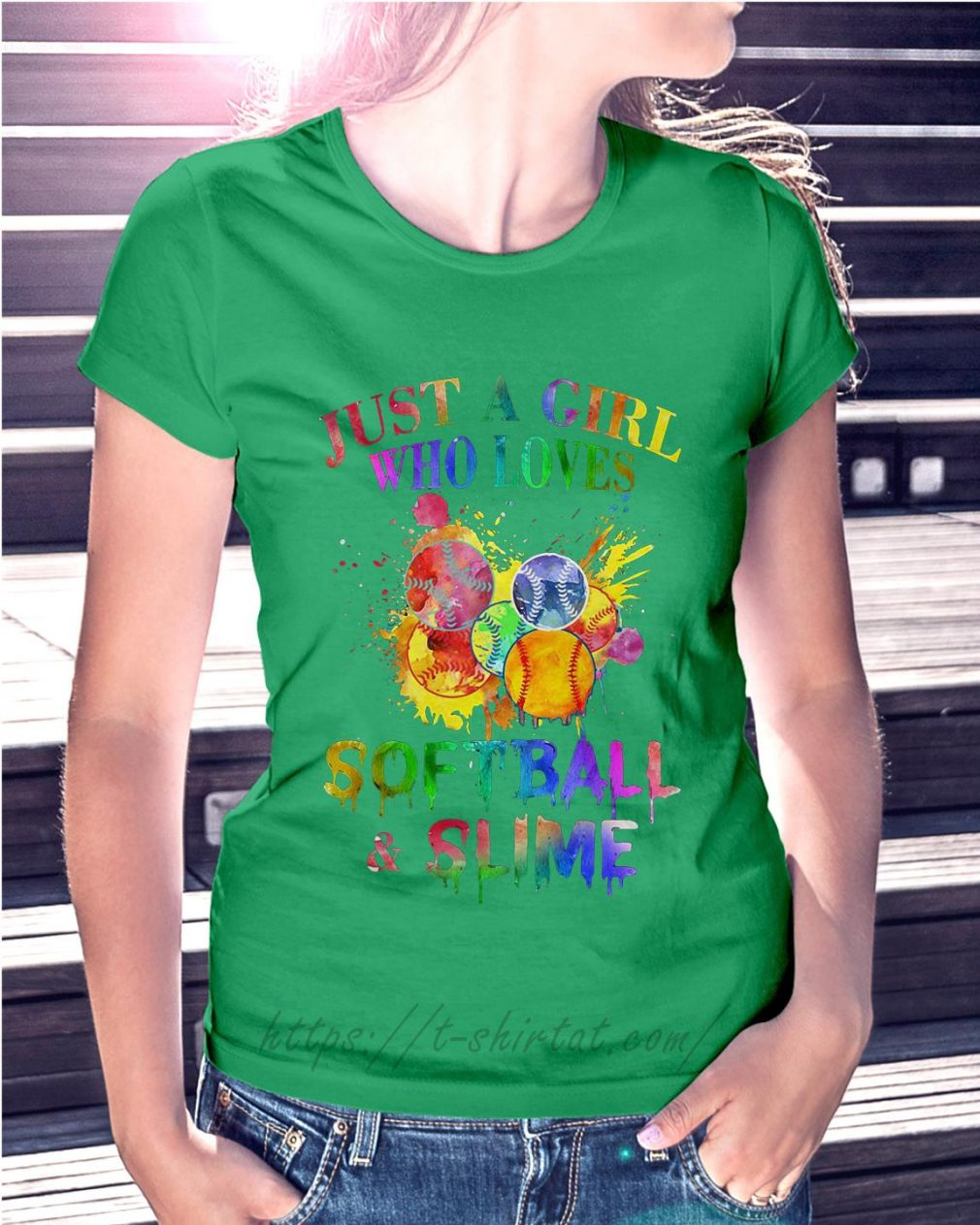 Just a girl who loves softball and slime Ladies Tee green