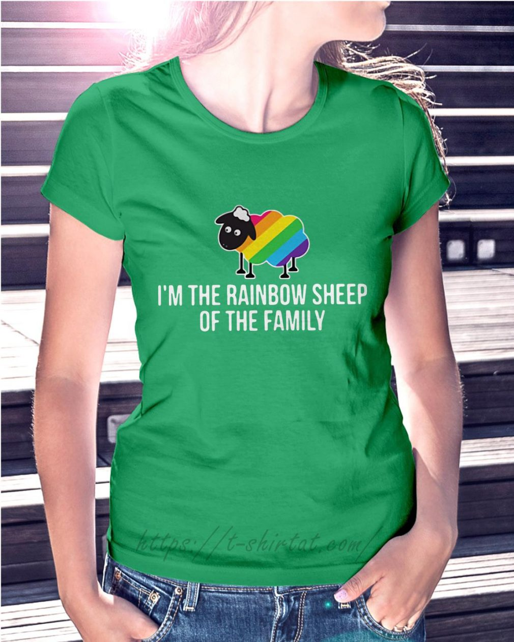 LGBT I'm the rainbow sheep of the family Ladies Tee green