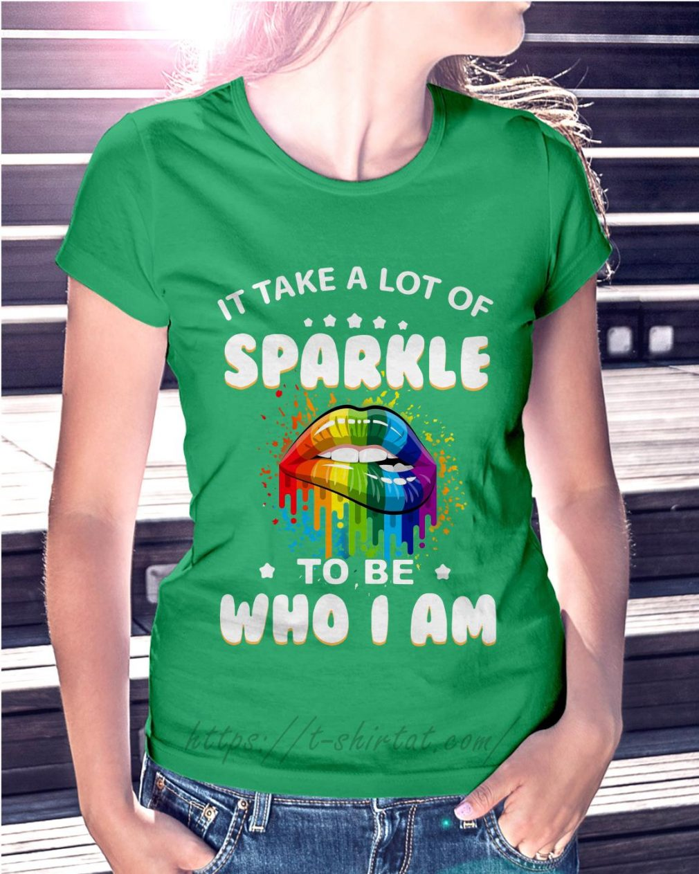 LGBT it take a lot of sparkle to be who I am Ladies Tee green