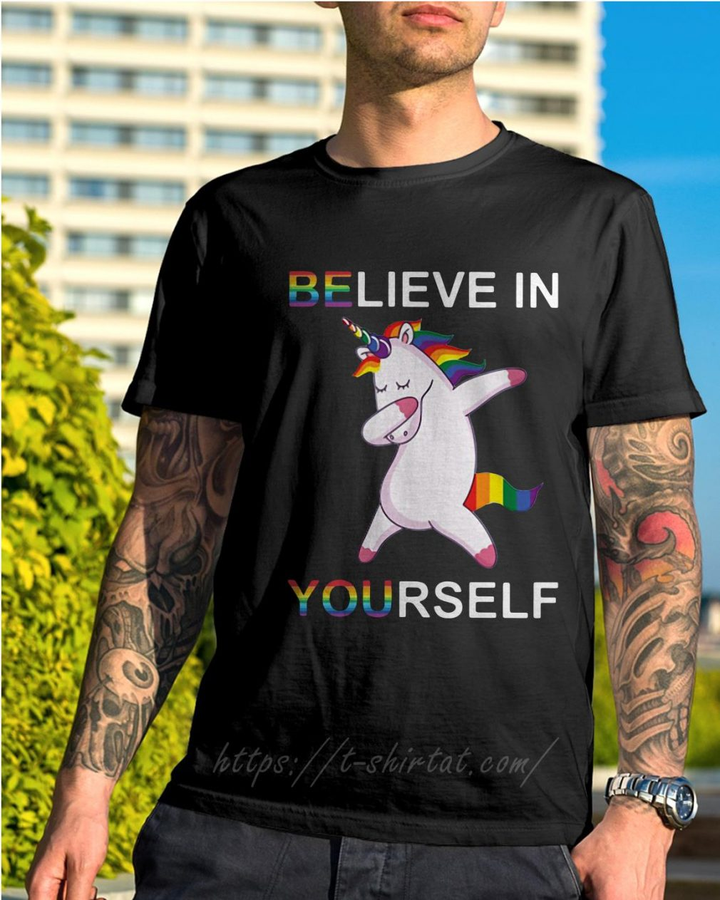 LGBT Unicorn dabbing believe in yourself shirt