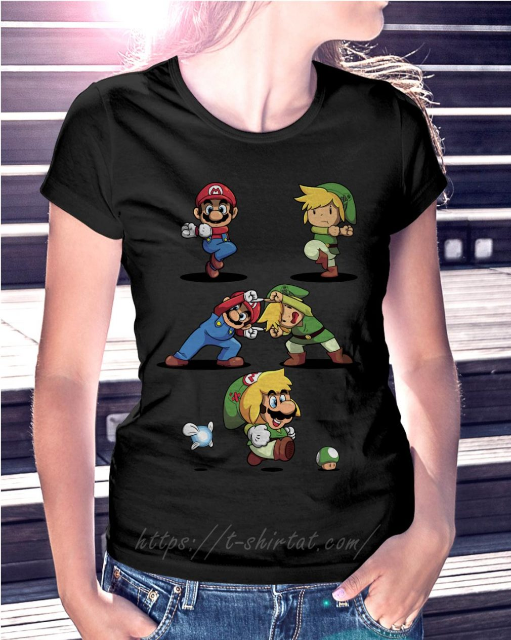 Mario and Toon Link fusion dance Ladies Tee
