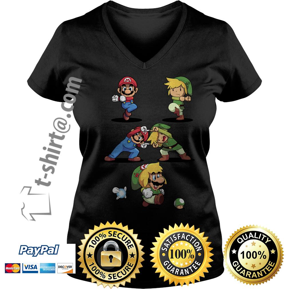 Mario and Toon Link fusion dance V-neck T-shirt