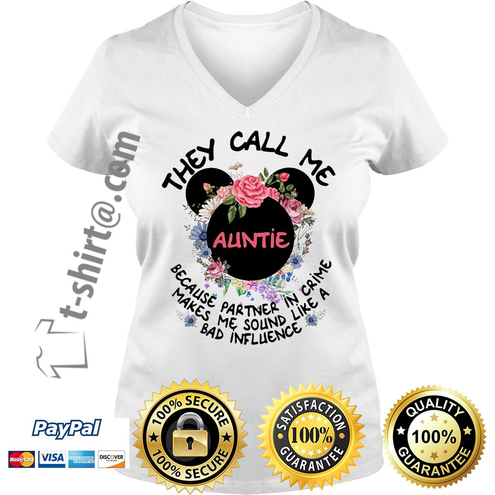 Mickey mouse they call me auntie because partner in crime V-neck T-shirt