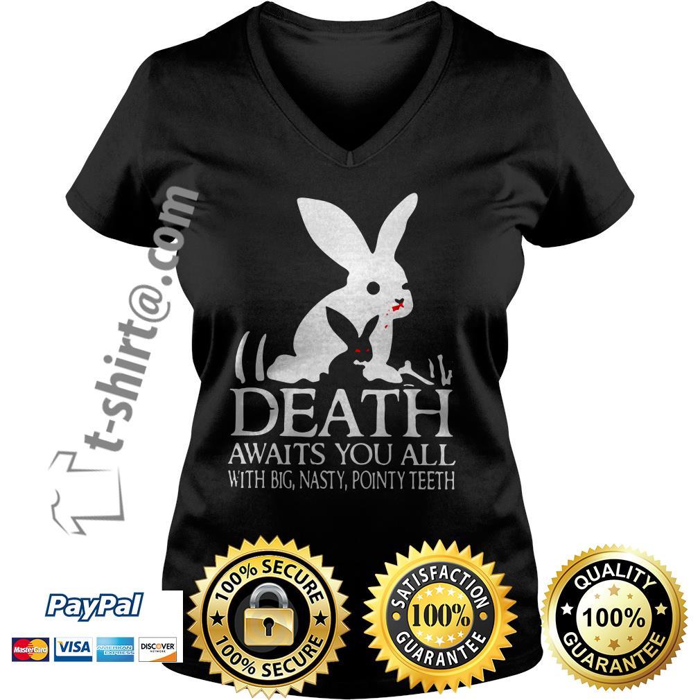 Monty Python rabbit death awaits you all with big nasty pointy teeth V-neck T-shirt