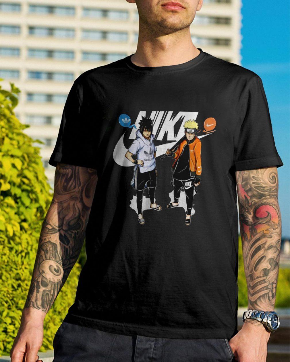 Naruto and Sasuke Nike Adidas shirt