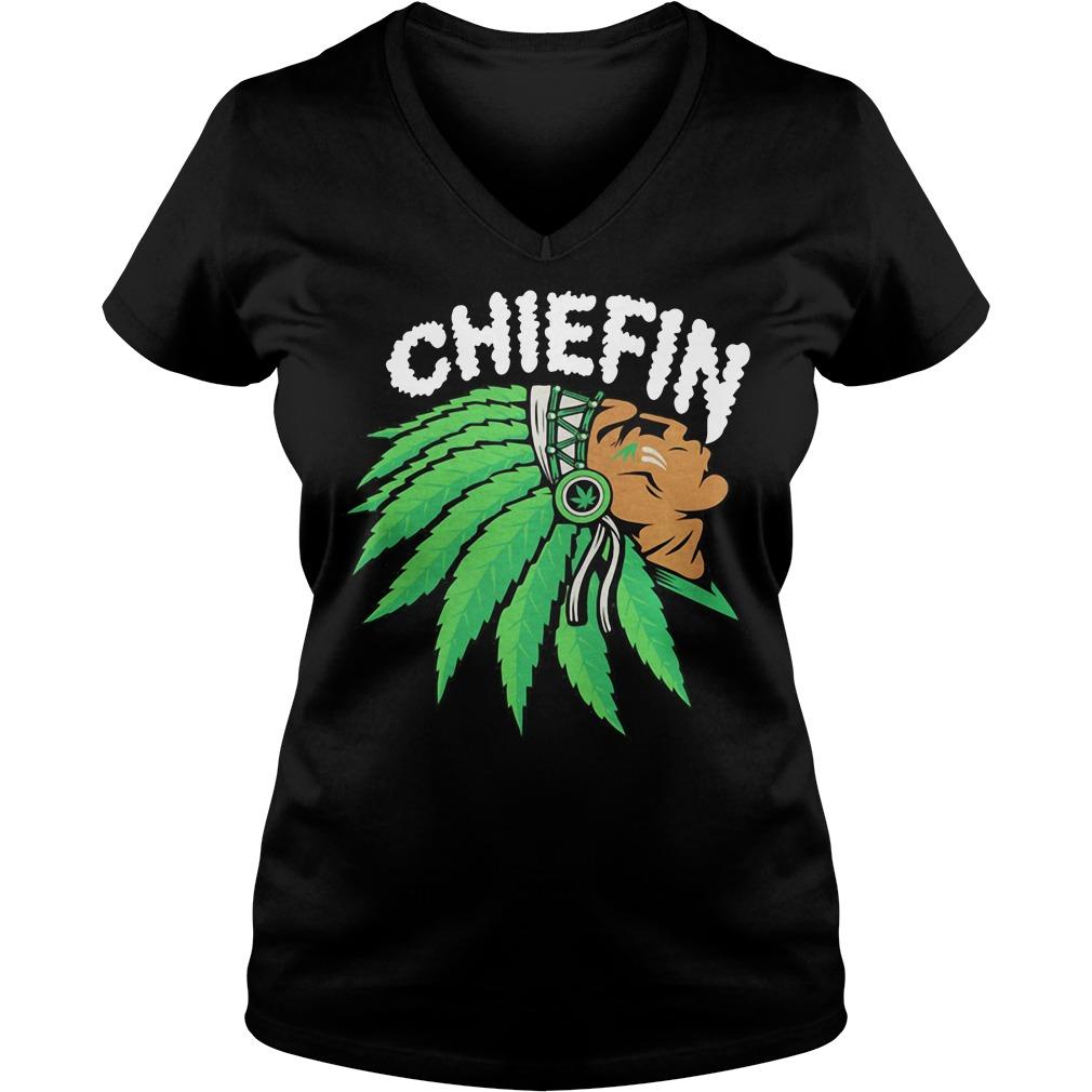 Native smoking weed chiefin V-neck T-shirt
