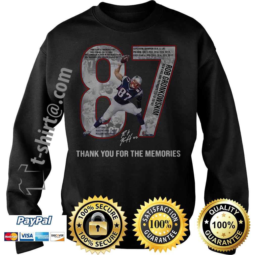 New England Patriots Rob Gronkowski 87 thank you for the memories Sweater