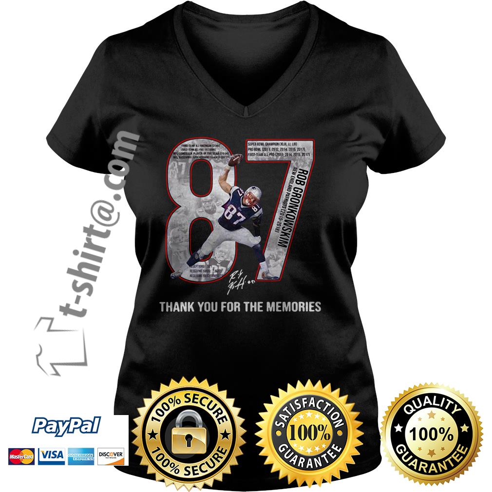 New England Patriots Rob Gronkowski 87 thank you for the memories V-neck T-shirt