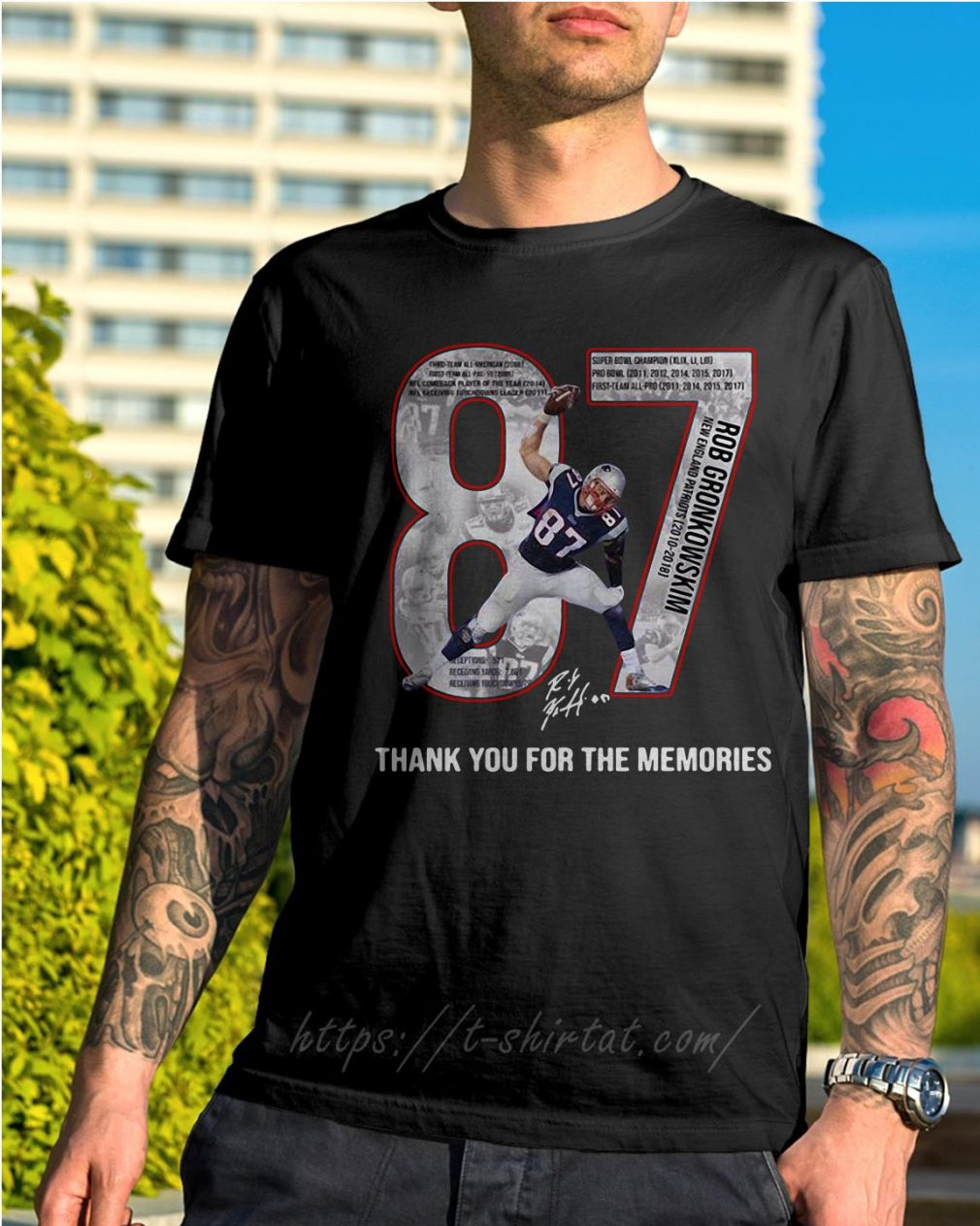 New England Patriots Rob Gronkowski 87 thank you for the memories shirt