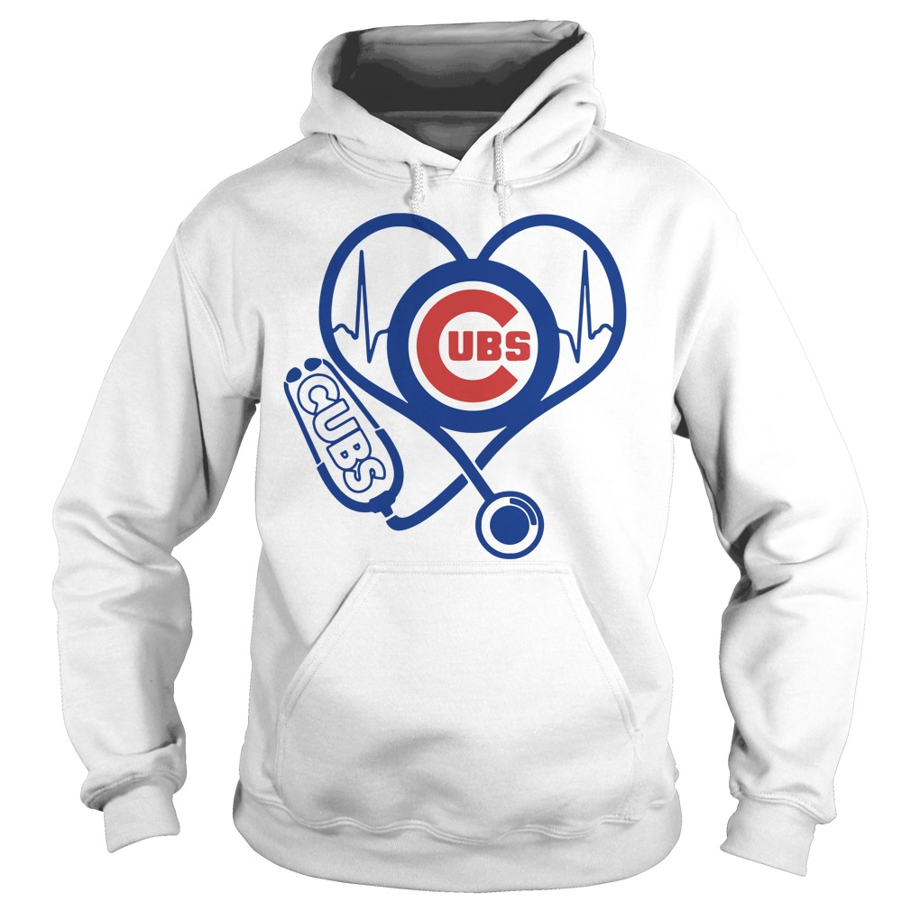 Nurse loves Chicago Cubs heartbeat Hoodie