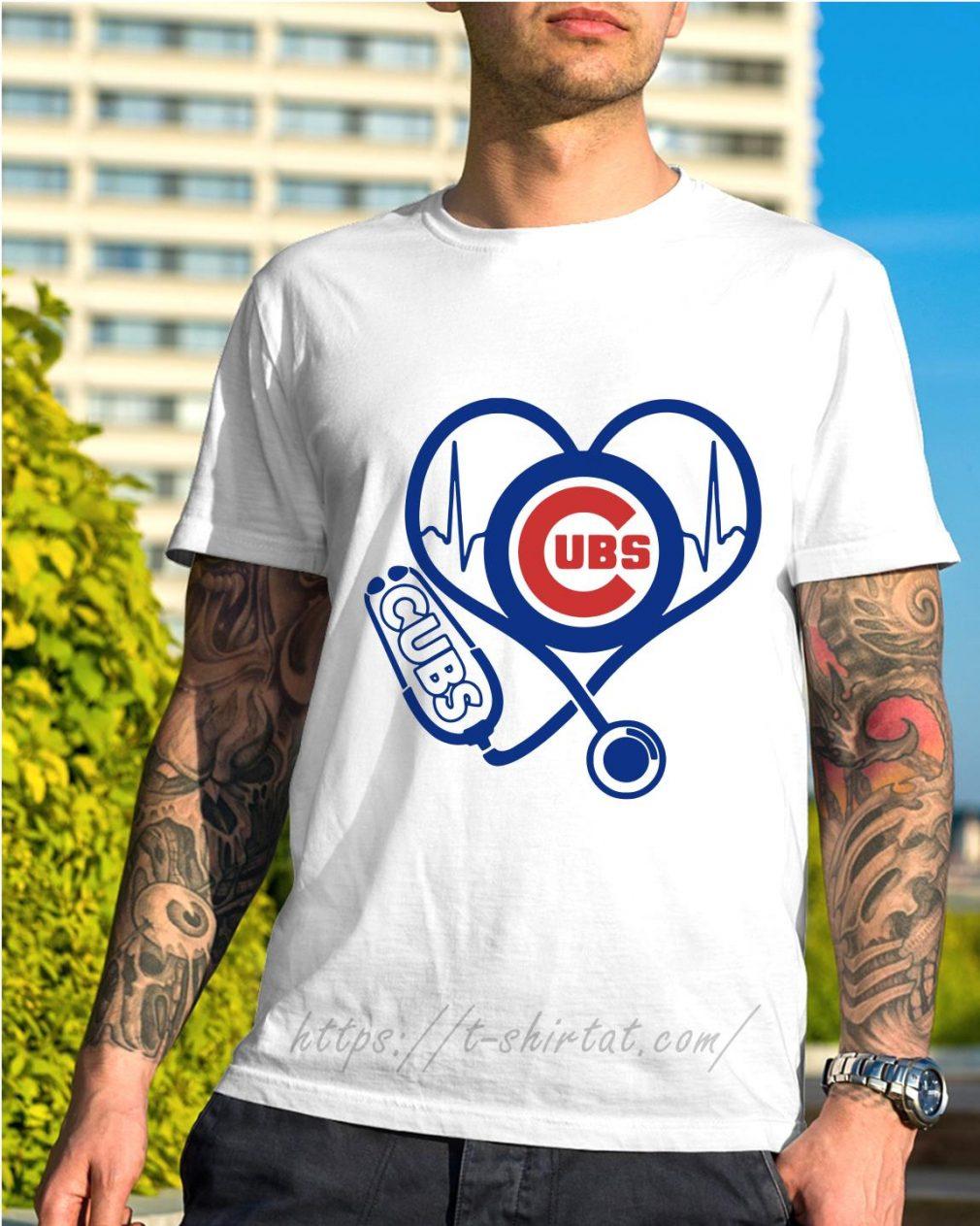 Nurse loves Chicago Cubs heartbeat shirt
