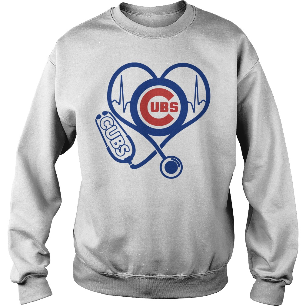 Nurse loves Chicago Cubs heartbeat Sweater