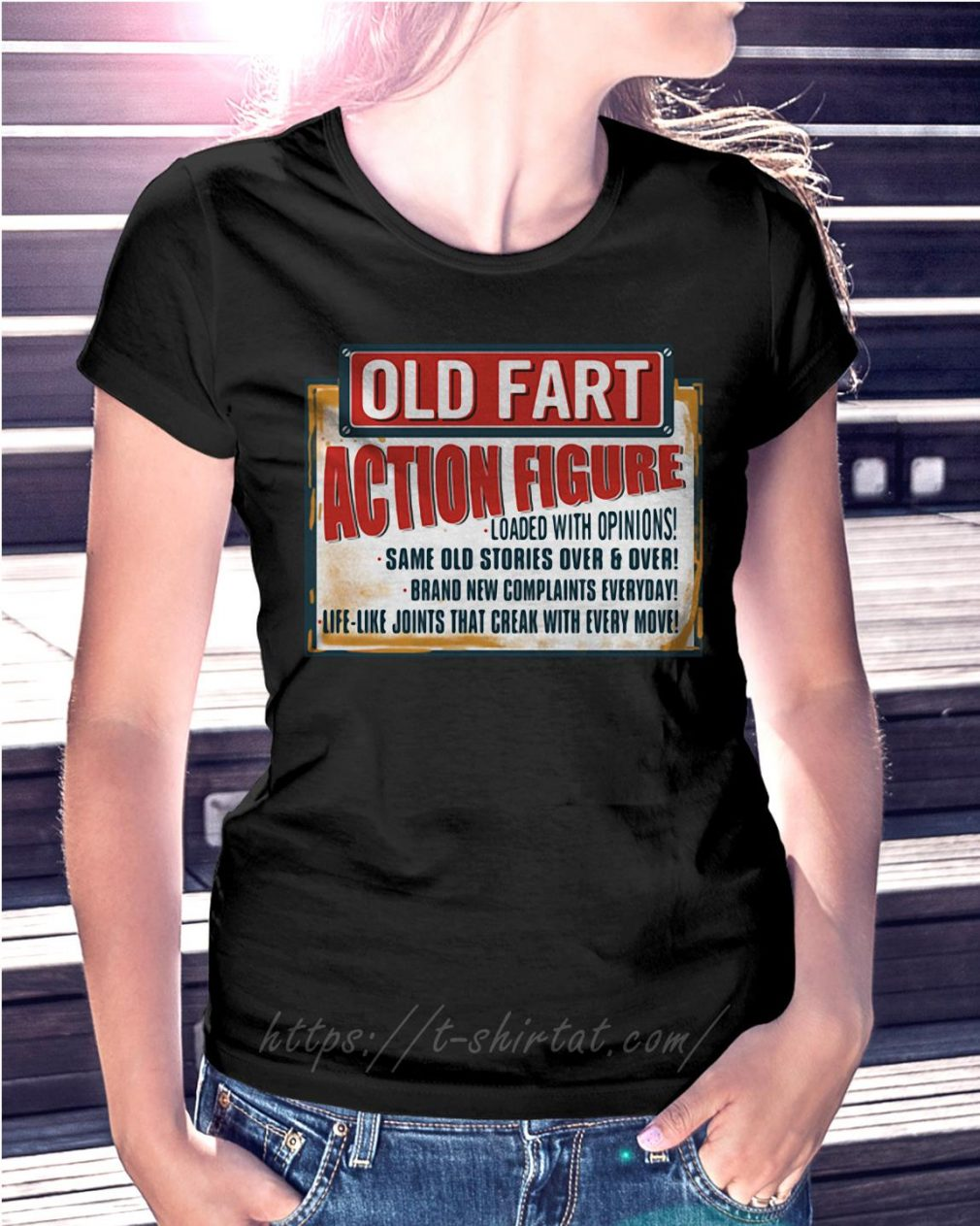 Old fart action figure loaded with opinions Ladies Tee