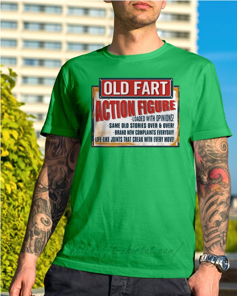Old fart action figure loaded with opinions Shirt green