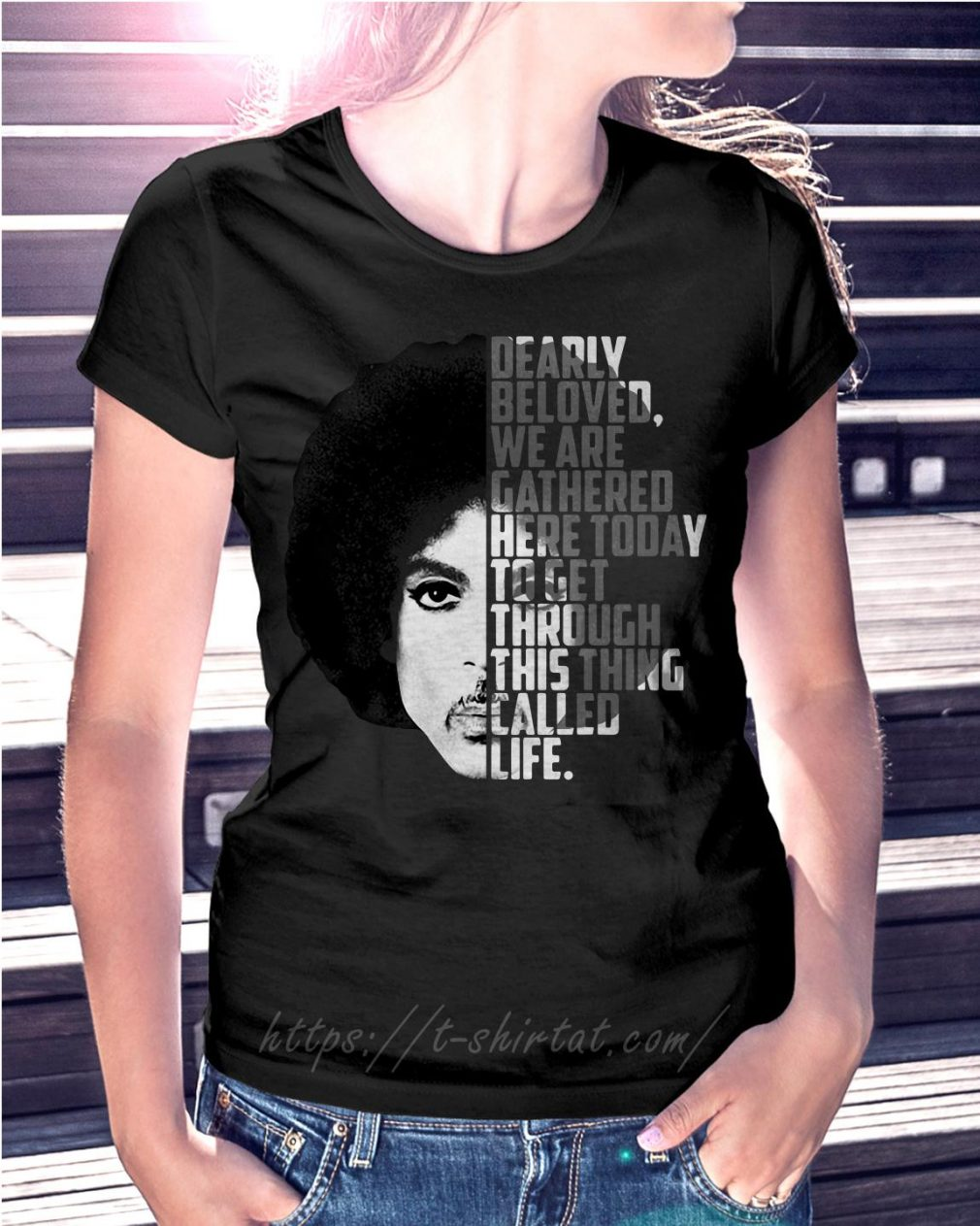 Prince Rogers Nelson dearly beloved we are gathered here today Ladies Tee