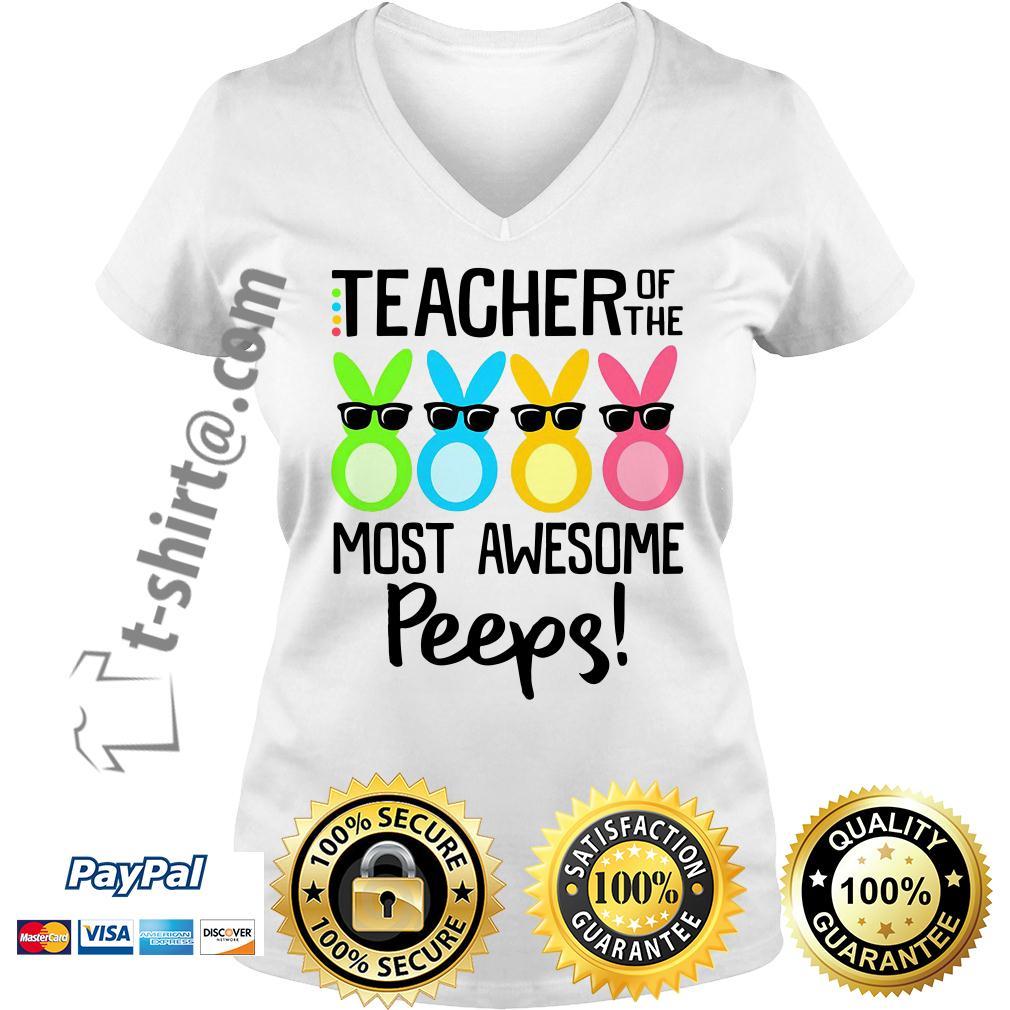 Rabbits teacher of the most awesome peeps V-neck T-shirt
