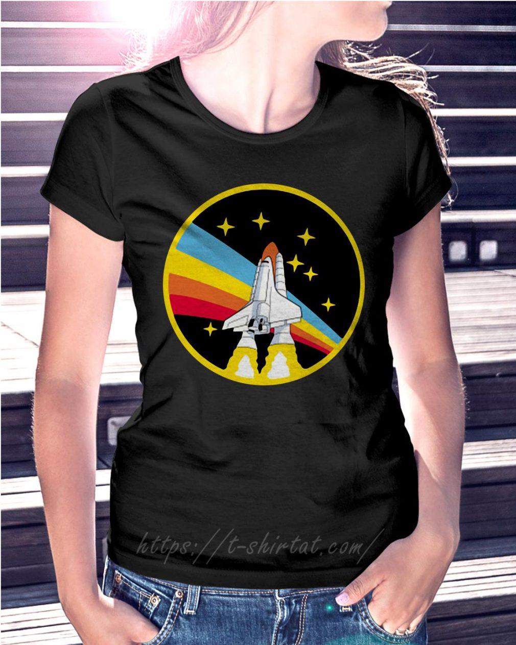 Rainbow rocket spaceship Ladies Tee