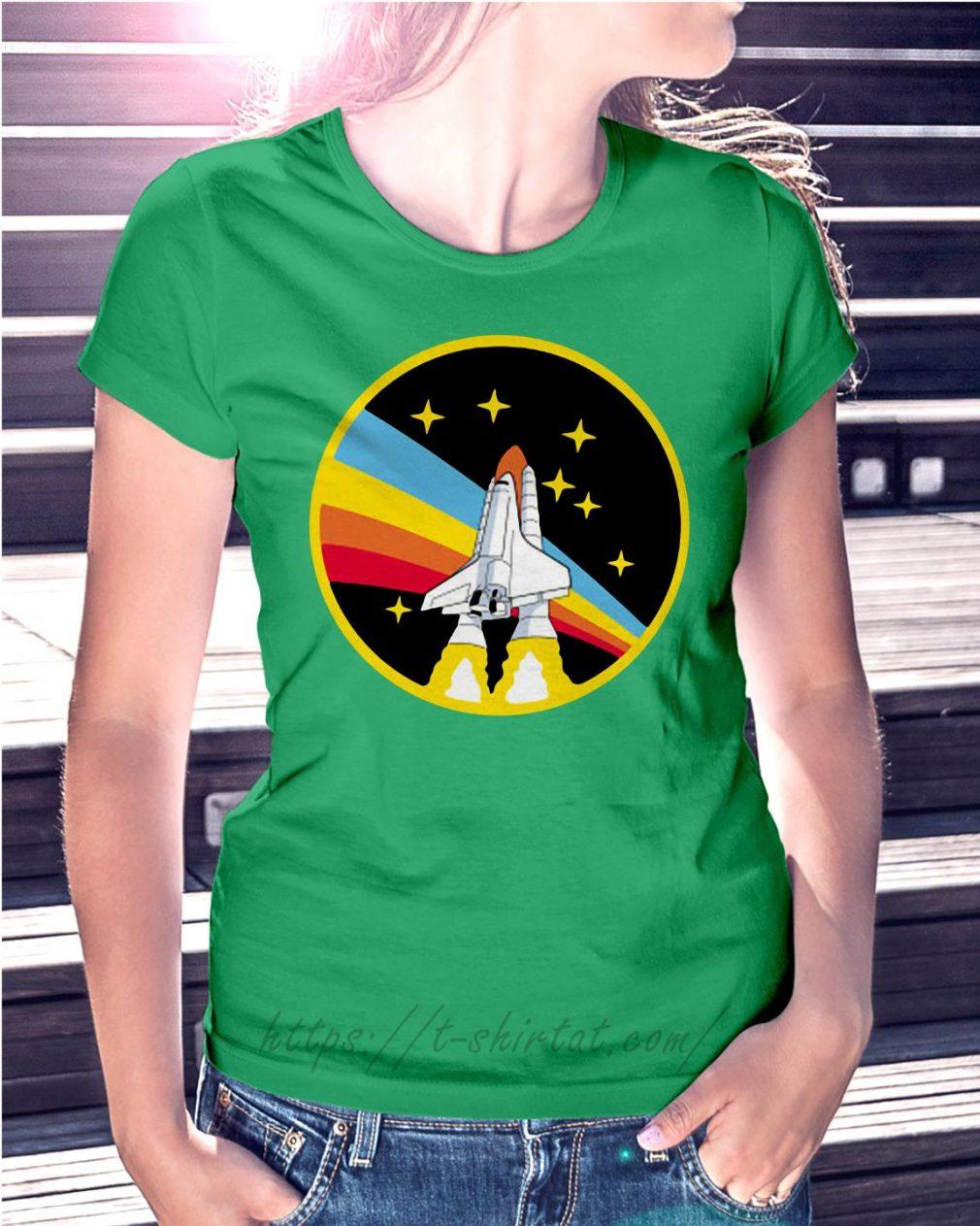 Rainbow rocket spaceship Ladies Tee green