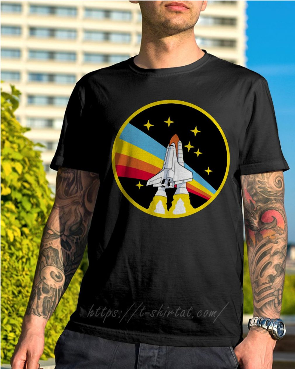 Rainbow rocket spaceship shirt