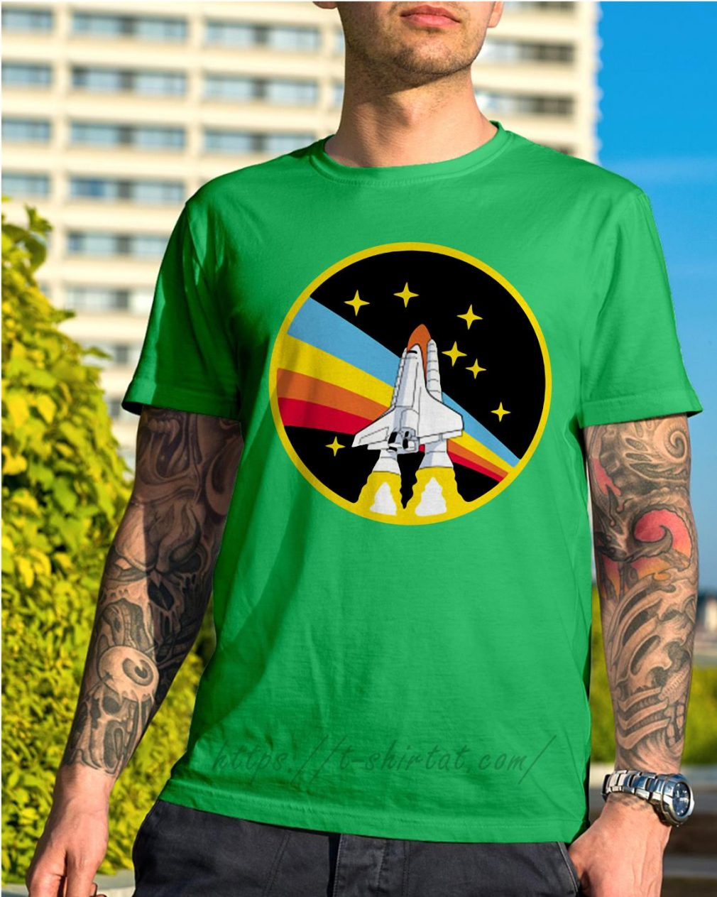 Rainbow rocket spaceship Shirt green