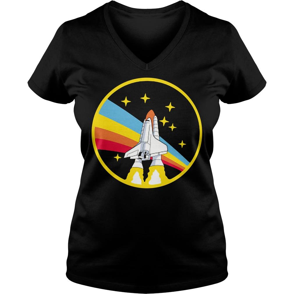 Rainbow rocket spaceship V-neck T-shirt