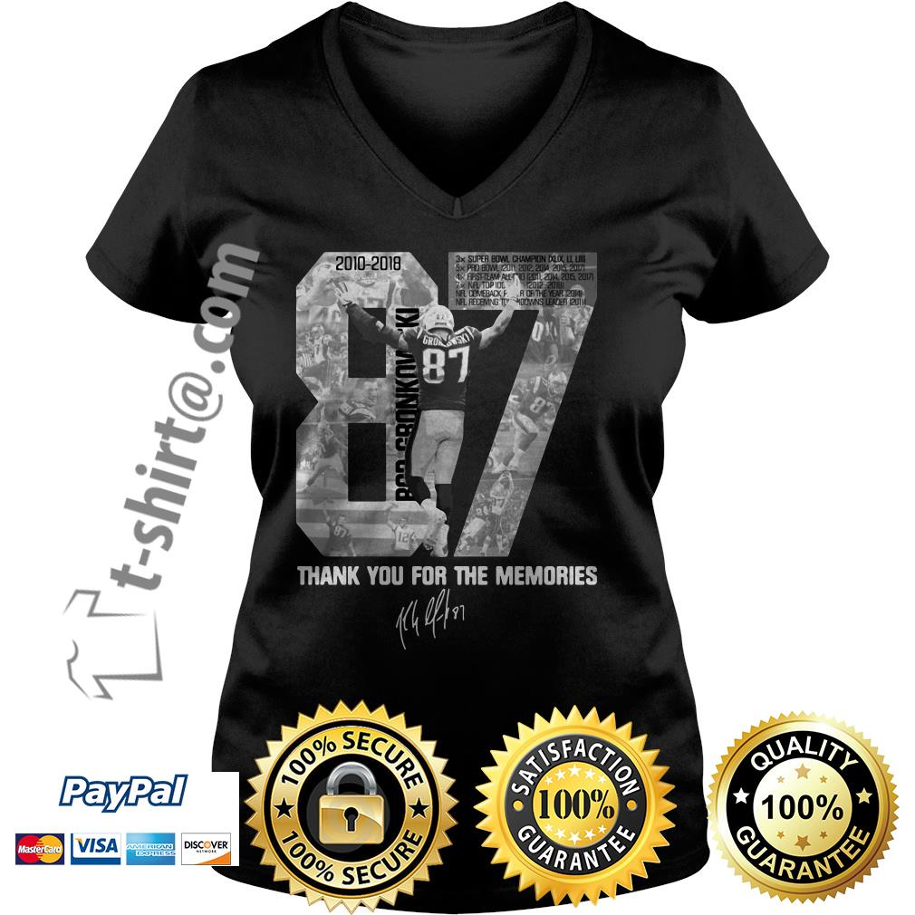 Rob Gronkowski 87 thank you for the memories signature V-neck T-shirt