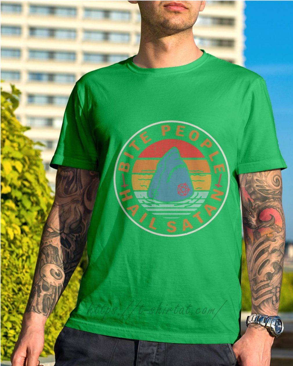 Shark bite people hail satan vintage Shirt green