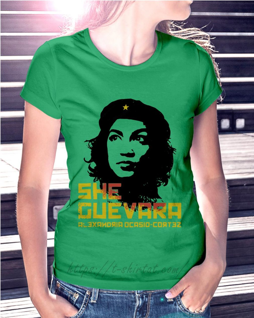 She Guevara Alexandria Ocasio Cortez Ladies Tee green
