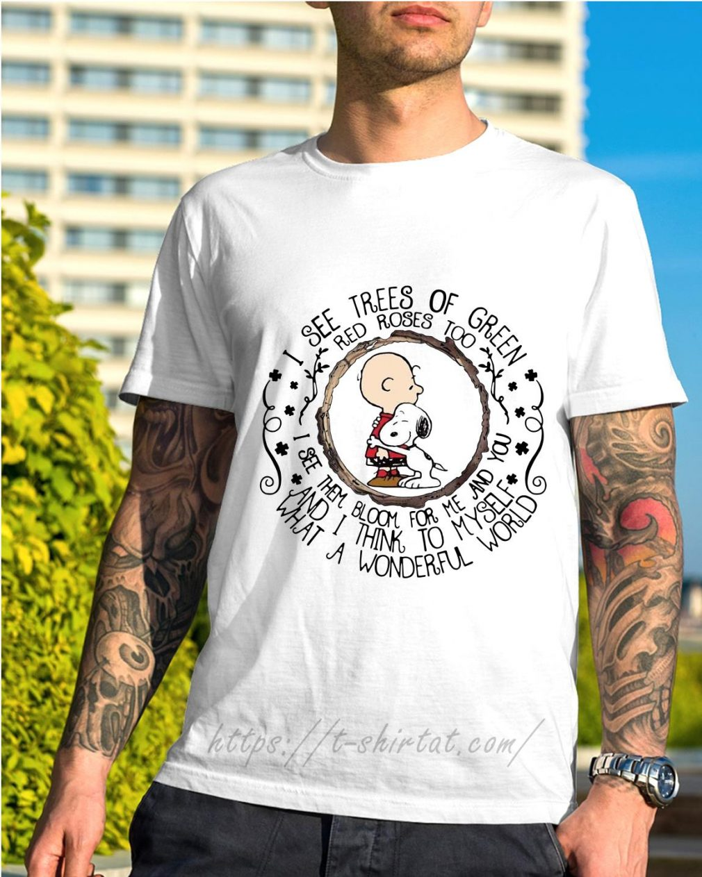 Snoopy with baby I see trees of green red roses too shirt
