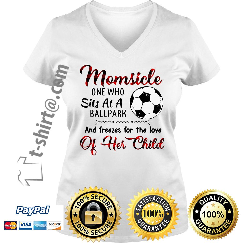 Soccer Momsicle one who sits at a ballpark and freezes for the love V-neck T-shirt
