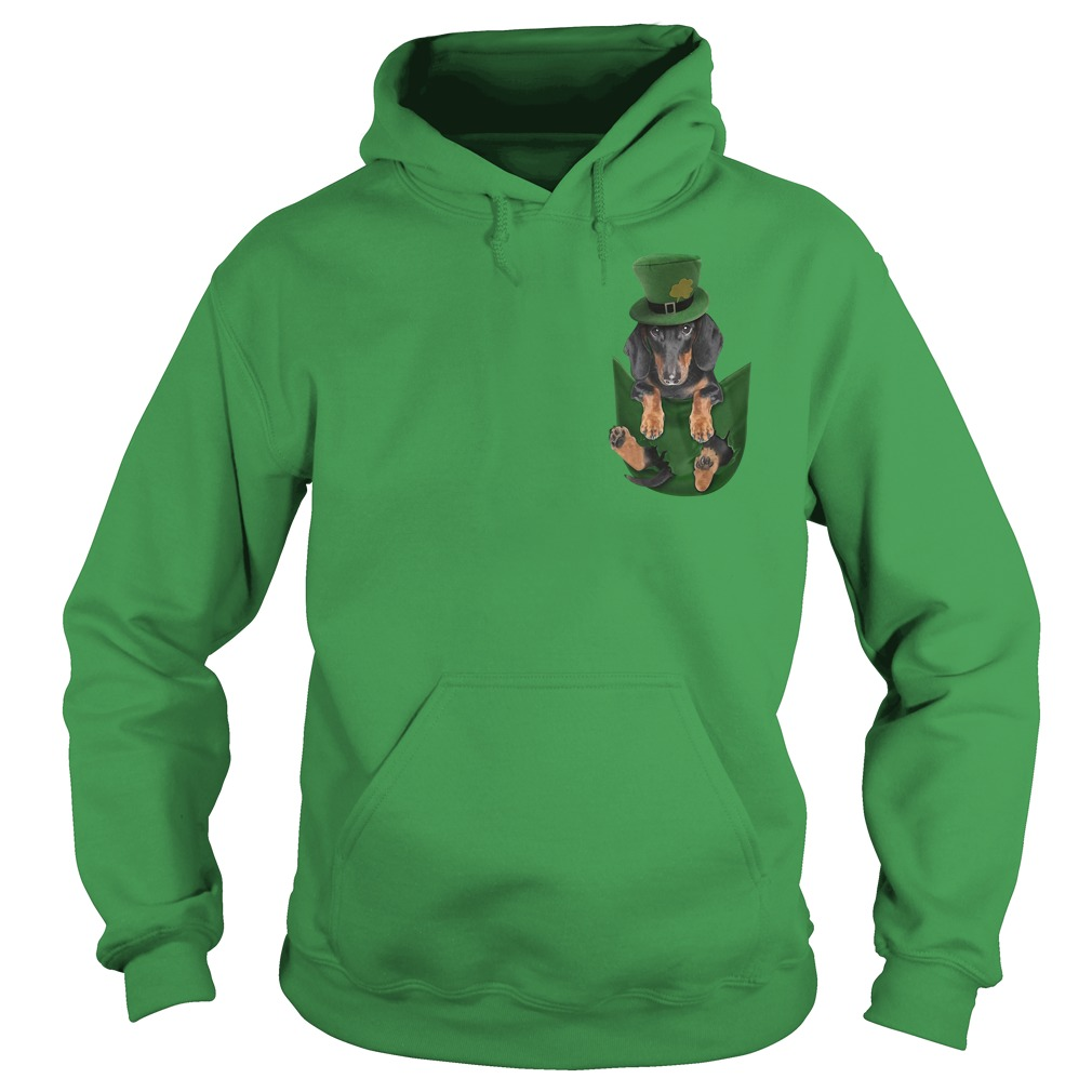 St Patrick's Dachshund in a pocket Hoodie