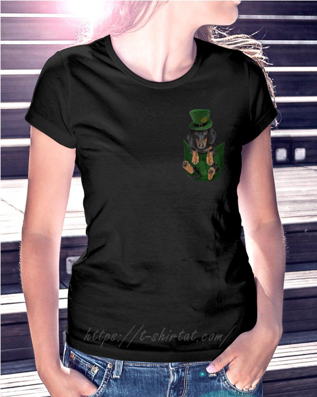 St Patrick's Dachshund in a pocket Ladies Tee