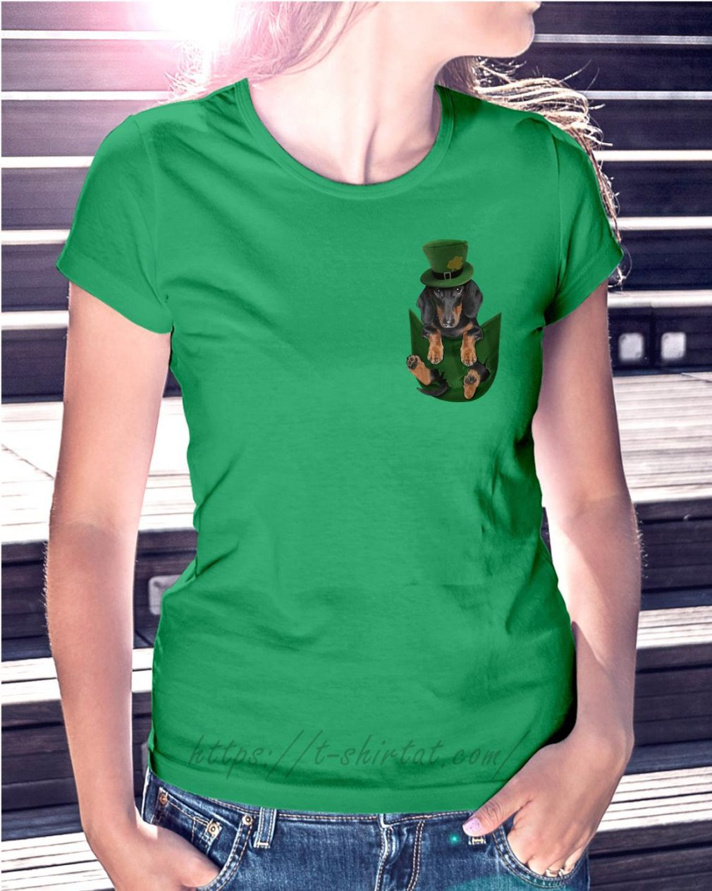 St Patrick's Dachshund in a pocket Ladies Tee green