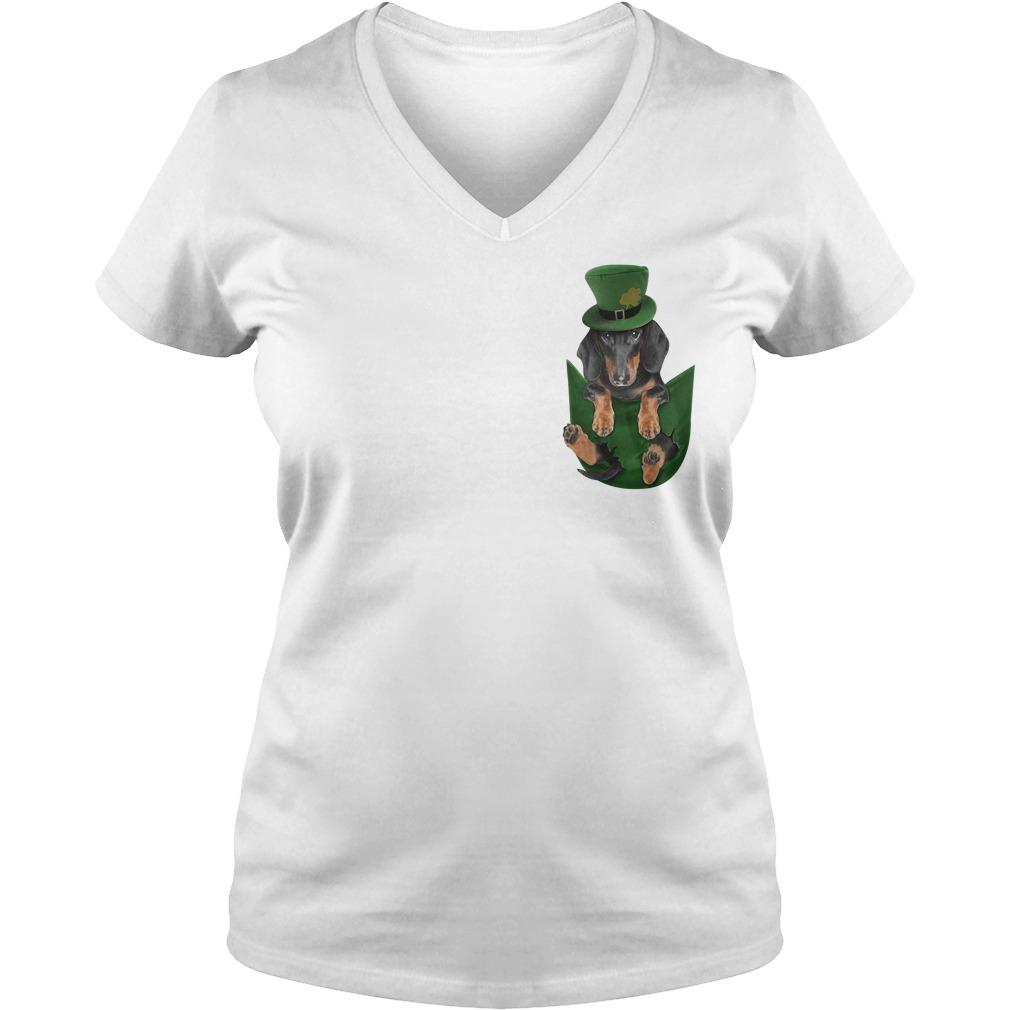 St Patrick's Dachshund in a pocket V-neck T-shirt