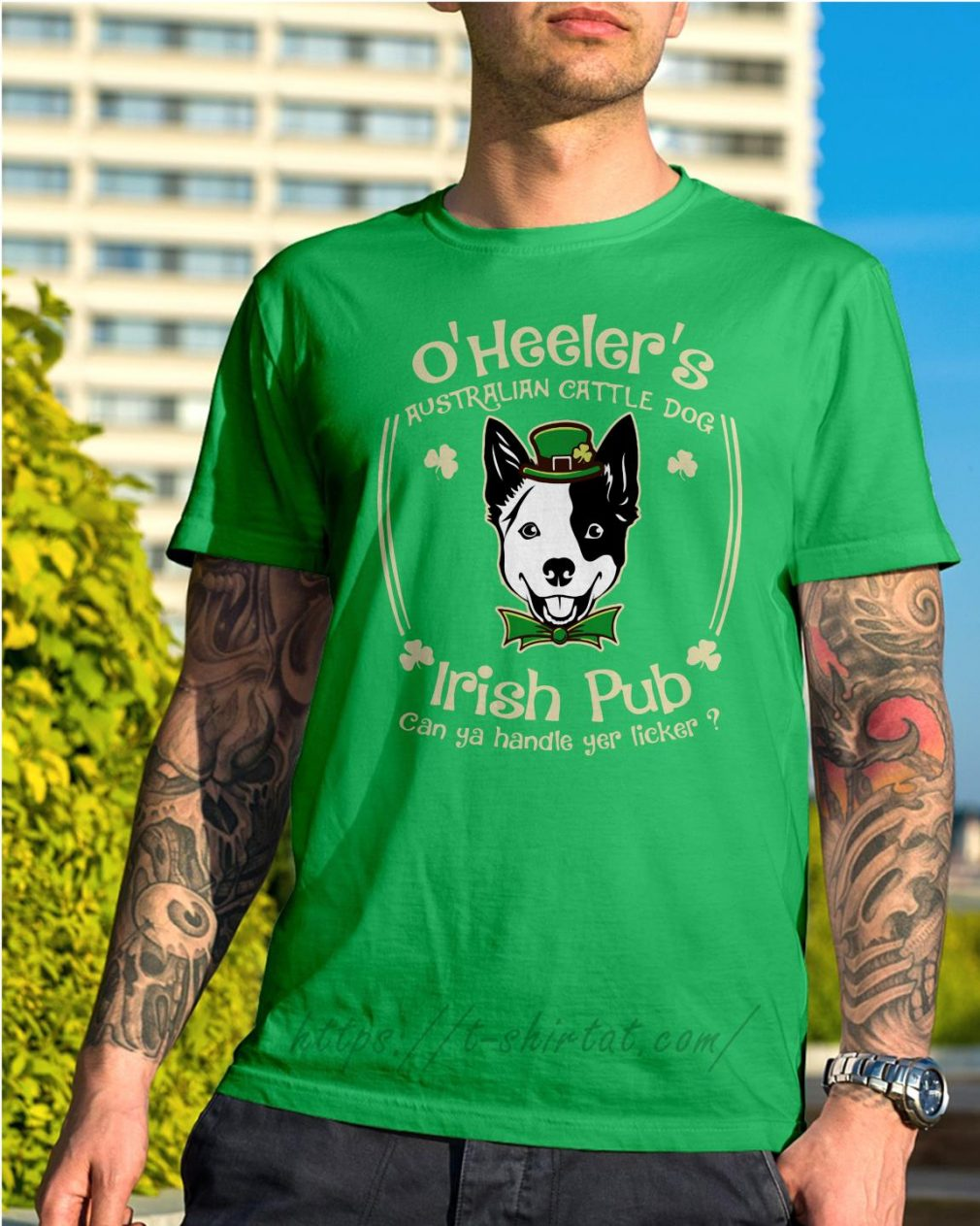 St Patrick's day O' Heelers Australian cattle dog Irish Pub Shirt green