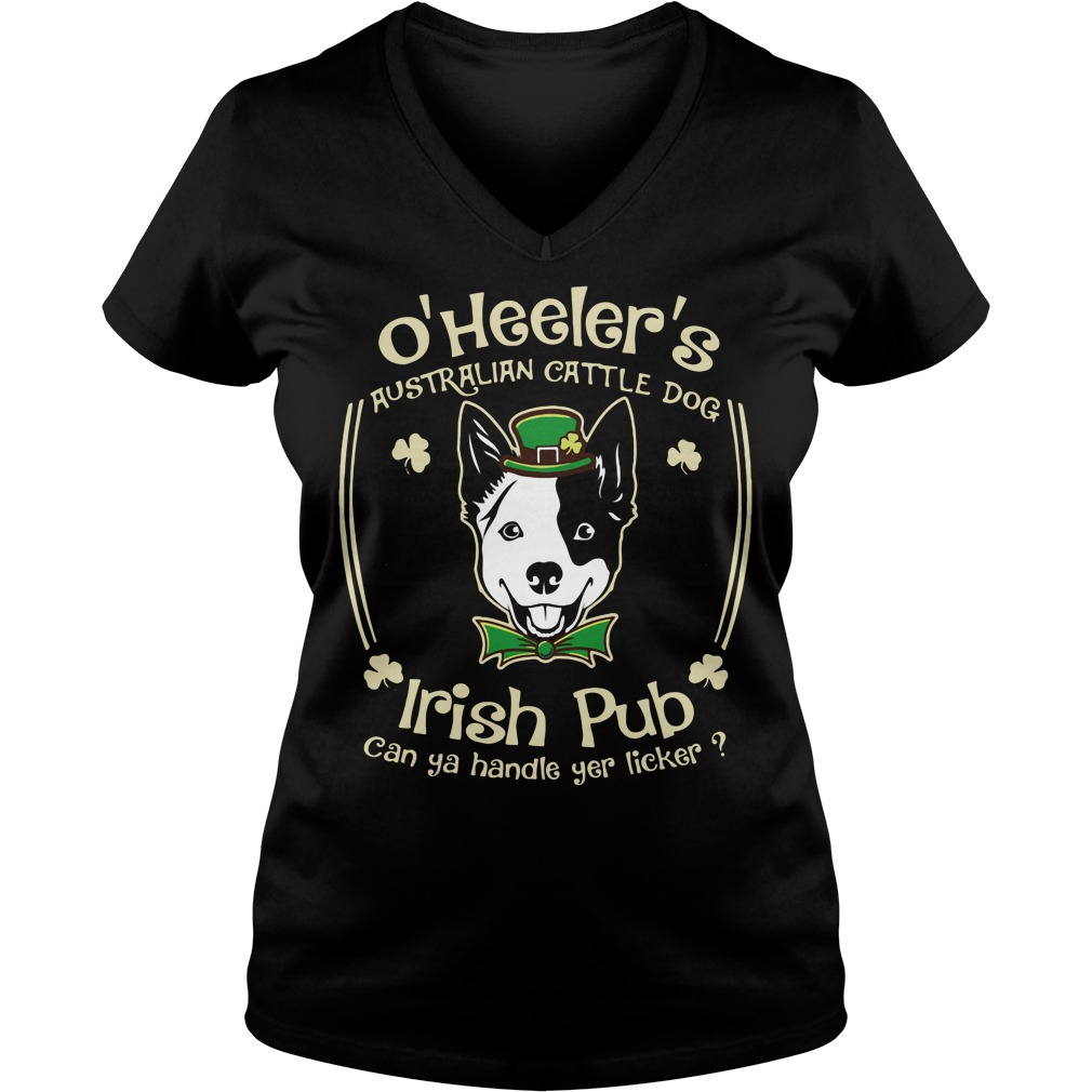 St Patrick's day O' Heelers Australian cattle dog Irish Pub V-neck T-shirt