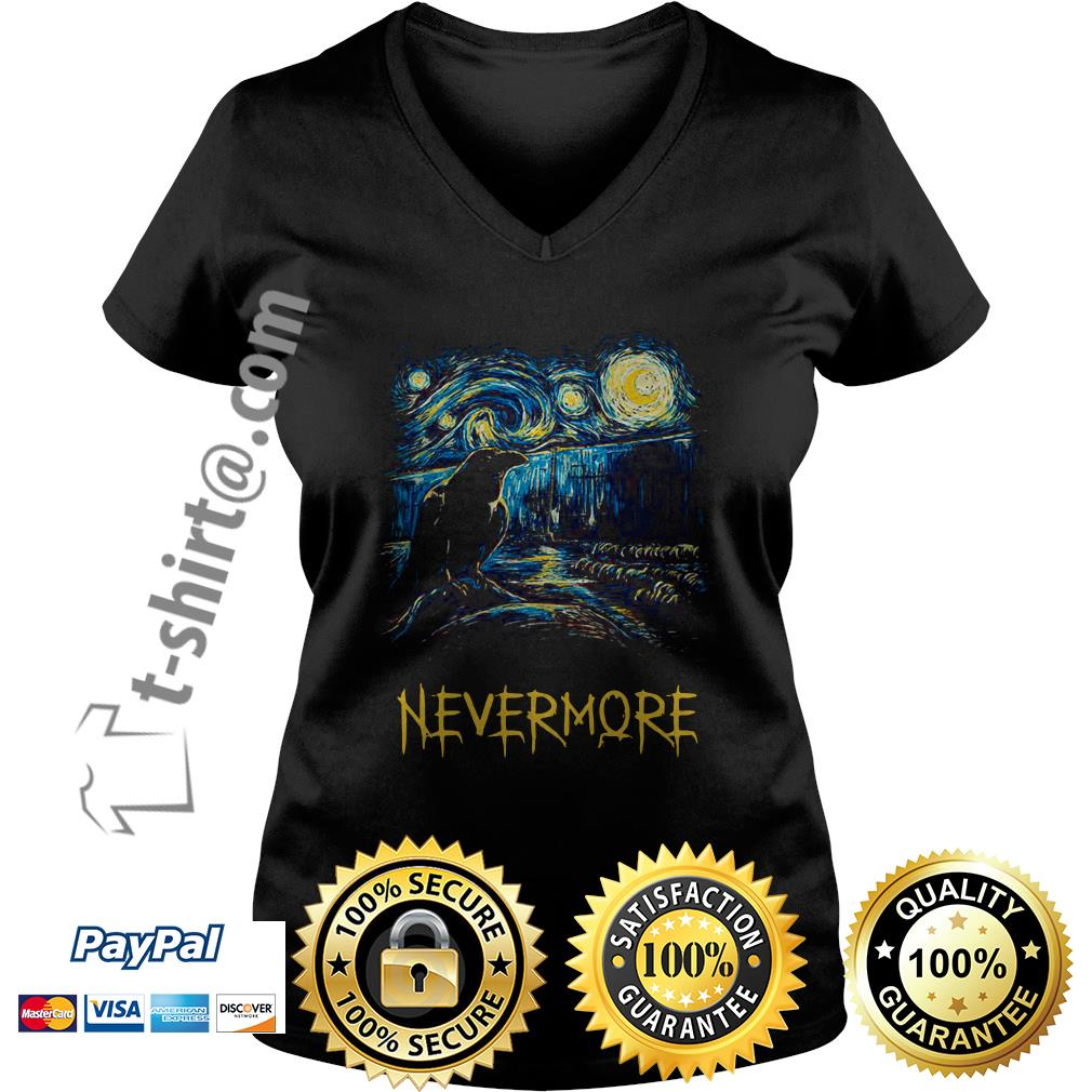 Starry fall Sherlock Van Gogh starry night nevermore V-neck T-shirt
