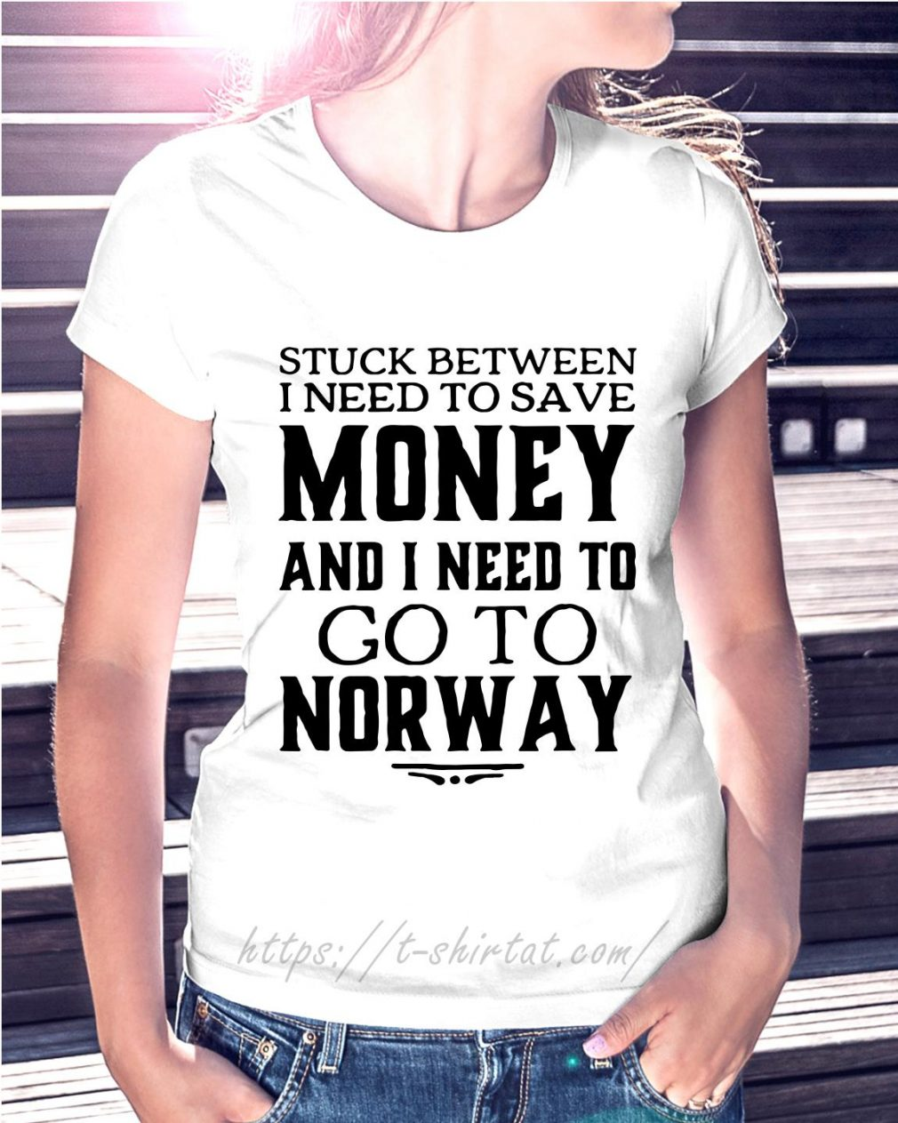 Stuck between I need to save money and I need to go to Norway Ladies Tee