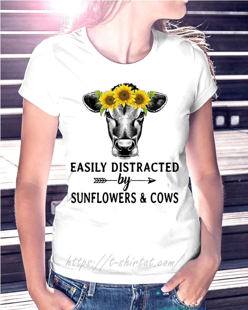 Sunflower cow easily distracted by sunflowers and cows T-shirt