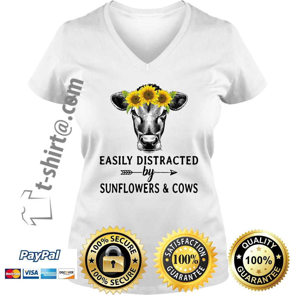 Sunflower cow easily distracted by sunflowers and cows V-neck T-shirt