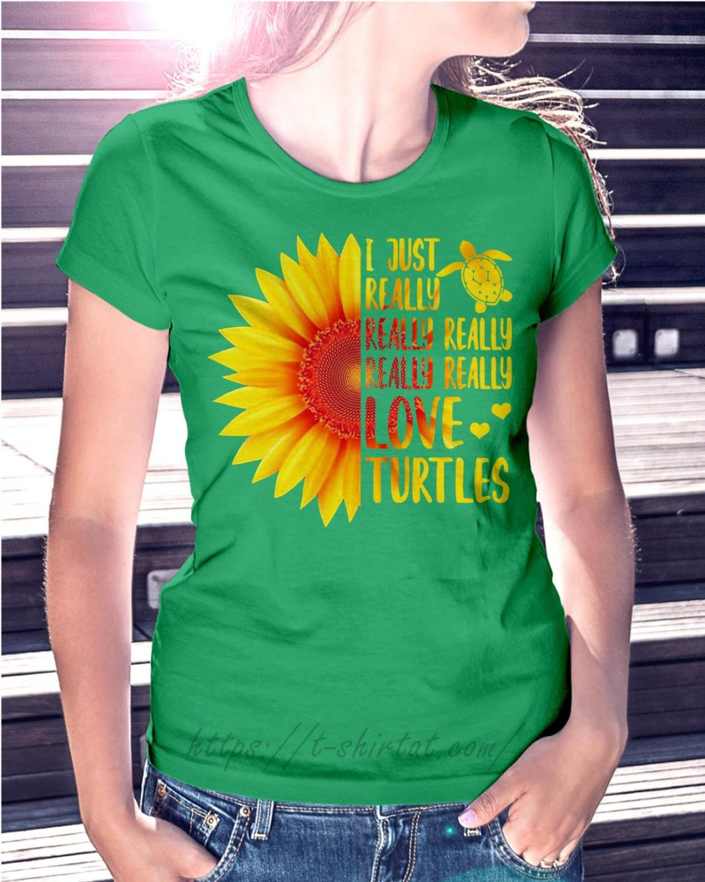 Sunflower I just really really really really really love turtles Ladies Tee green