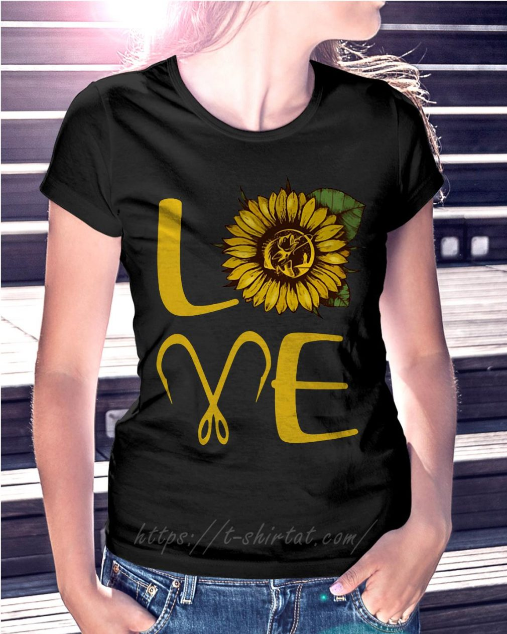 Sunflower love fishing hook T-shirt