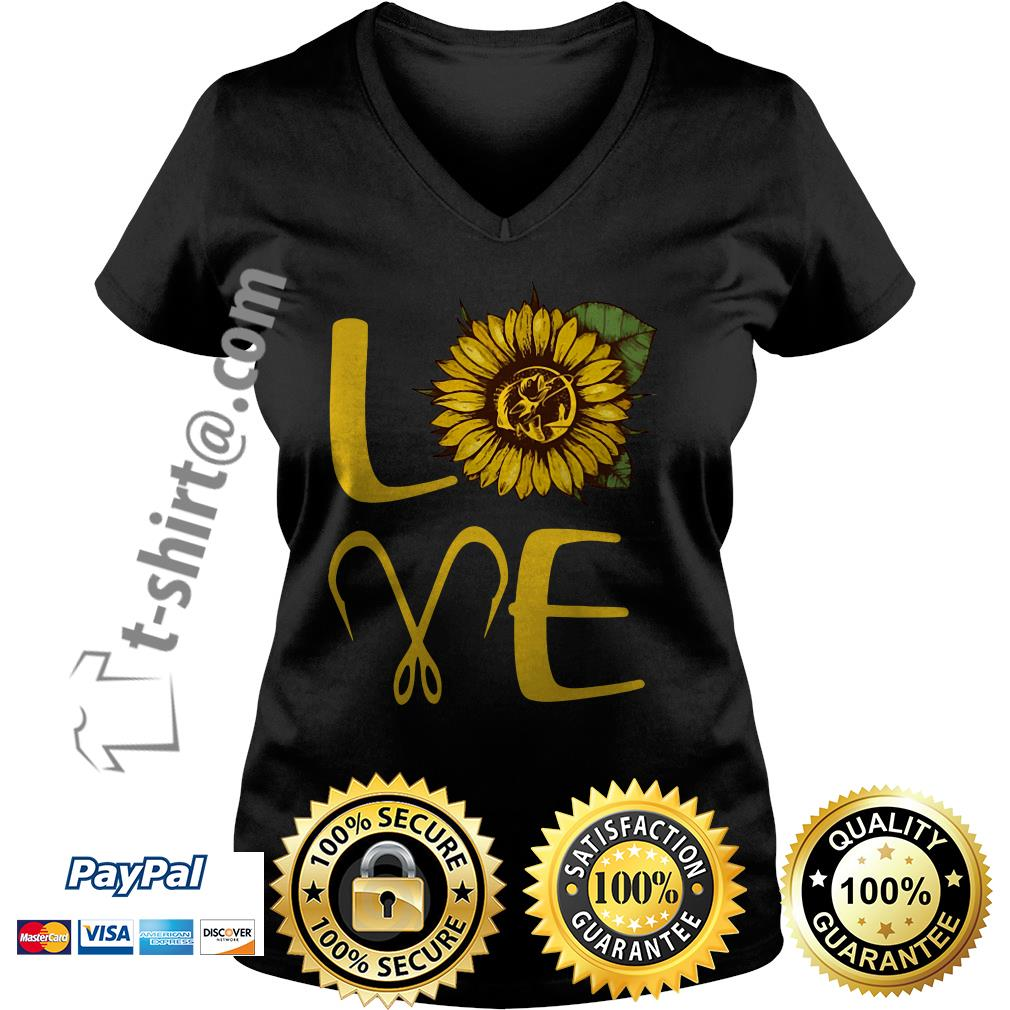 Sunflower love fishing hook V-neck T-shirt