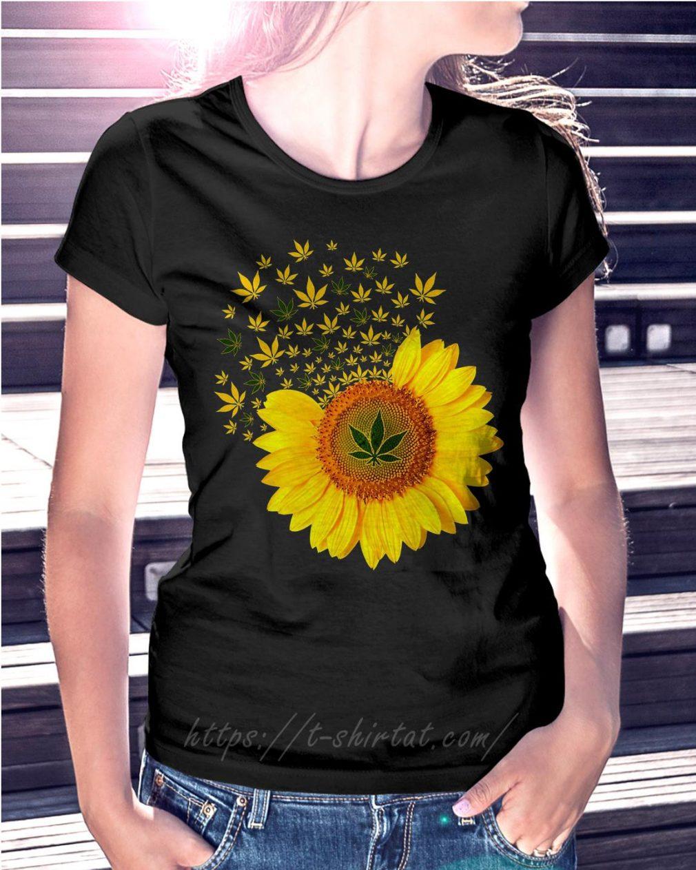 Sunflower Marijuana leaf weed T-shirt