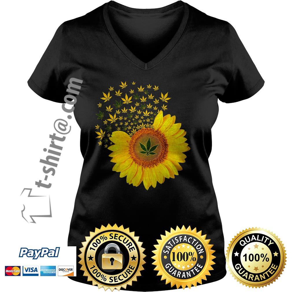 Sunflower Marijuana leaf weed V-neck T-shirt