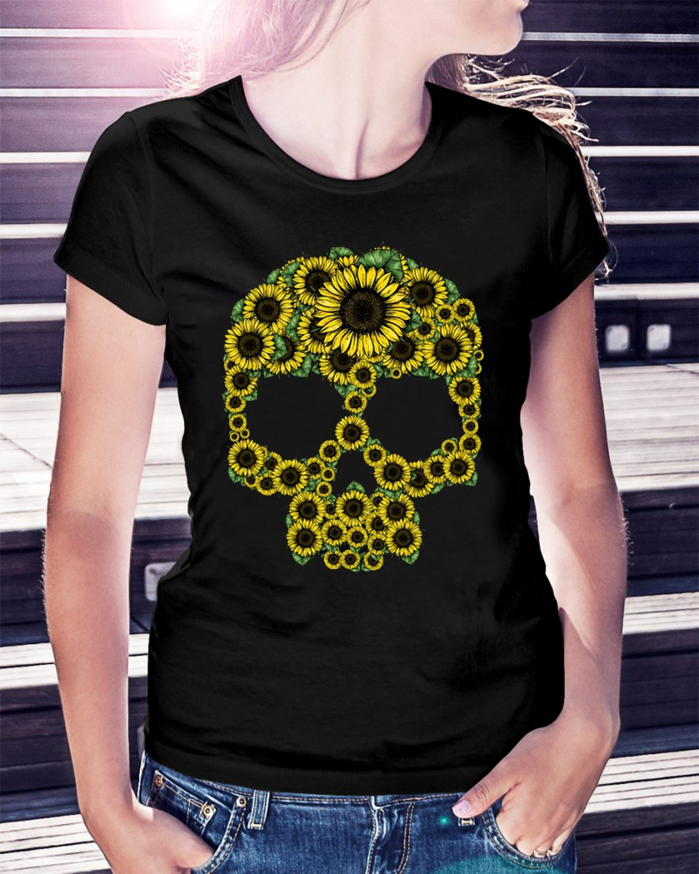 Sunflower skull Ladies Tee