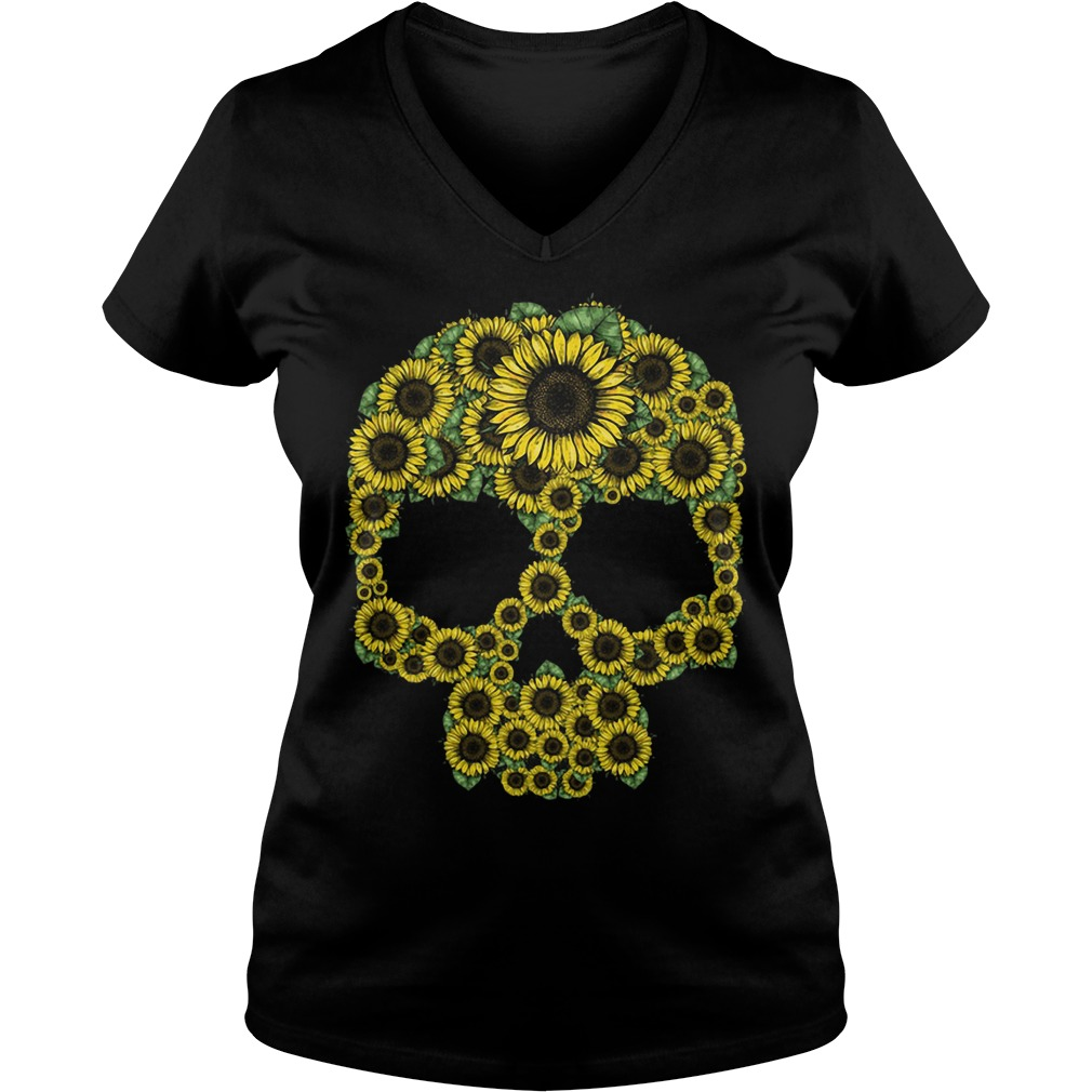 Sunflower skull V-neck T-shirt