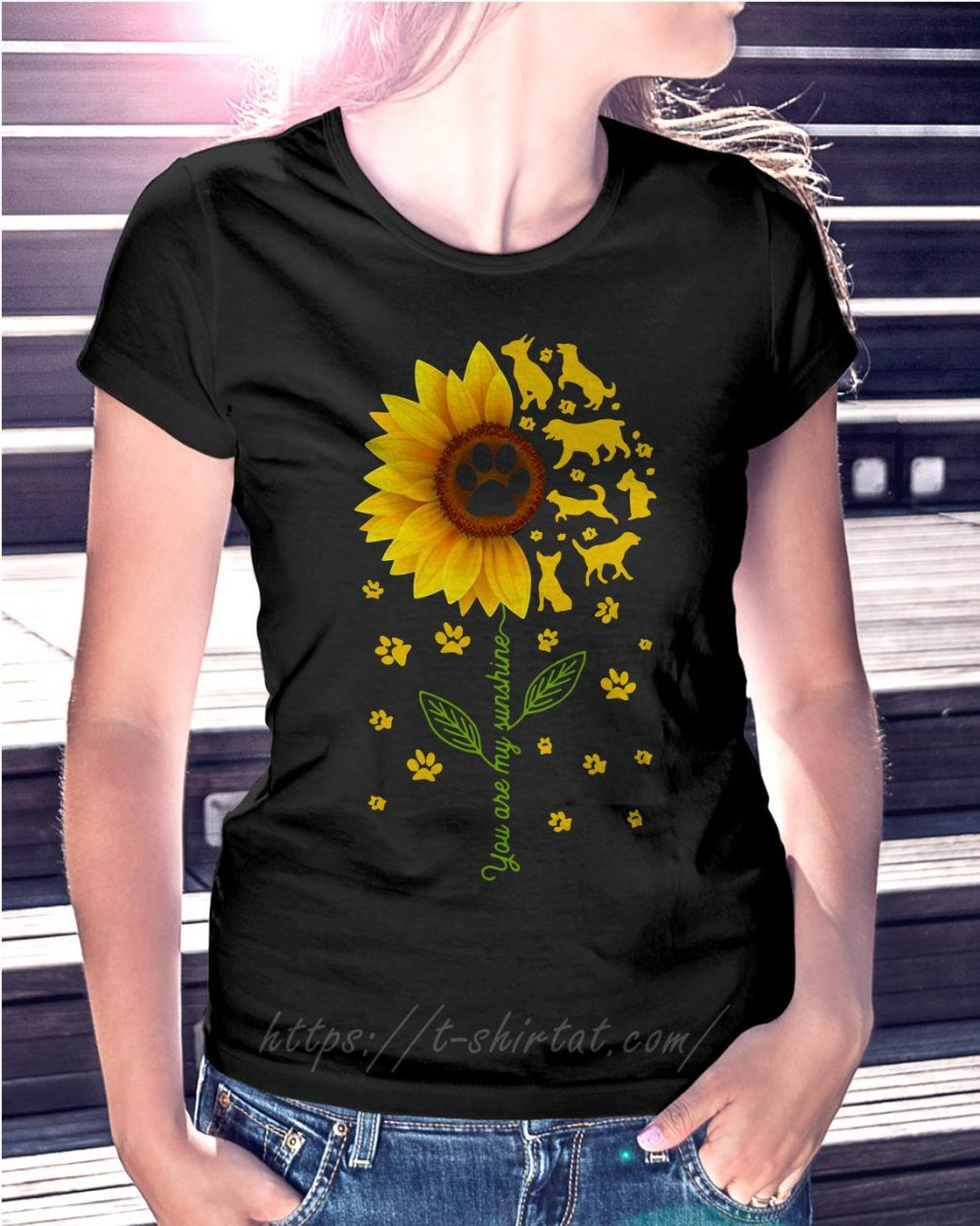 Sunflower you are my sunshine paws dogs T-shirt