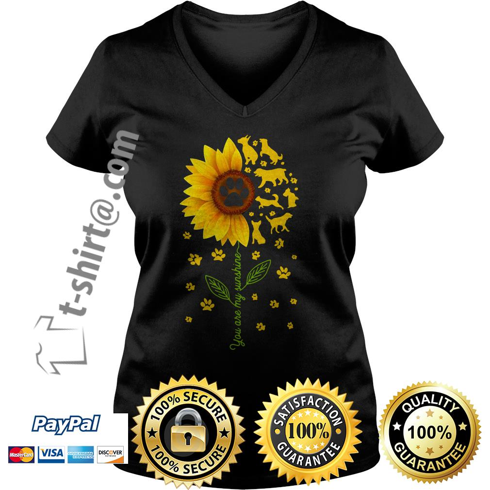 Sunflower you are my sunshine paws dogs V-neck T-shirt